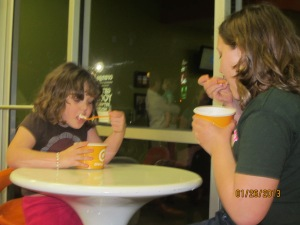 Sisterly meetings over frozen yogurt.