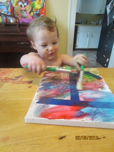 Jillian finally decided that two paint brushes were better then one!