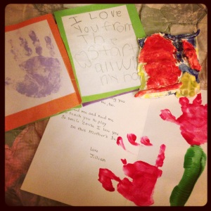 We made cards and crafts showing our love for mommy!