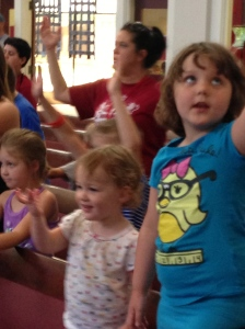 She joined her big sister for sing-a-long at VBS