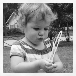 Blowing bubbles is so much fun!