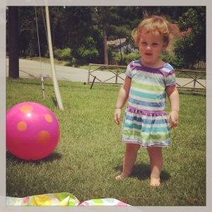 playing in the front yard before our picnic!