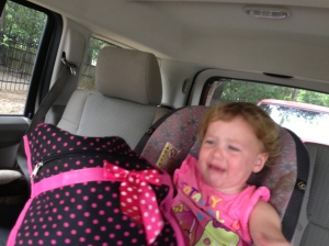 Someone doesn't like running errands as much as mommy does!