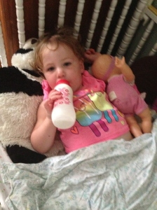 A good nap always starts with an ice cold bottle of milk!