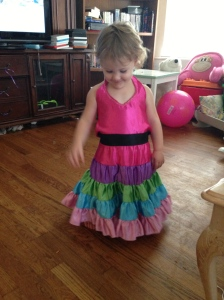 playing dress up and a little fashion show for mommy