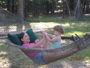 Sisterly love in the hammock!