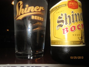 sitting in Shiner,Texas at the Shiner Bar drinking a Shiner Bock!