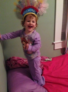 I swear to you as soon as this picture was taken she fell off the bed. No more monkey's jumping on the bed!