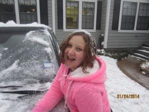 Having fun playing in the snow