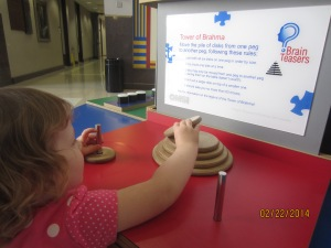 Jillian loved doing the brain games located in the middle of the museum