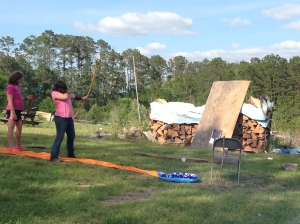 Getting in a little long bow practice.