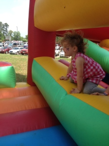 It was a bouncy adventure...after teaching her how to do it on her own  I couldn't keep her off of it.