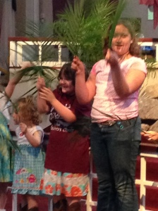 All three of my girls waving their Palms for the arrival of Jesus!