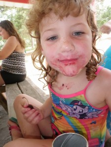 somebody got into the cherries during our picnic.